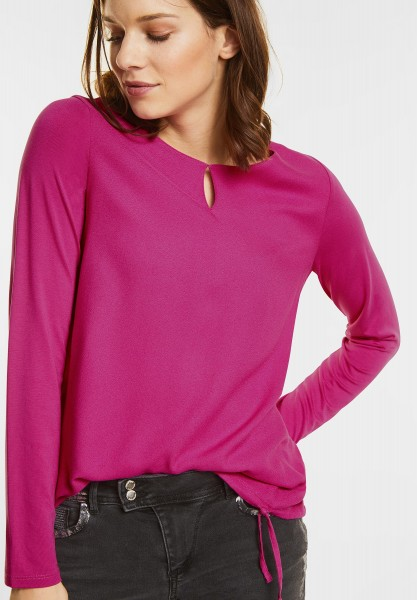 Street One - Longsleeve mit Tunnelzugsaum in Sparkling Berry