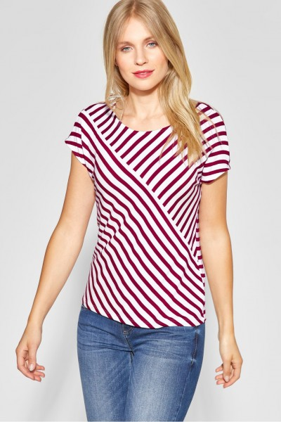 Street One - Streifen-Shirt Vivana in Wine Red