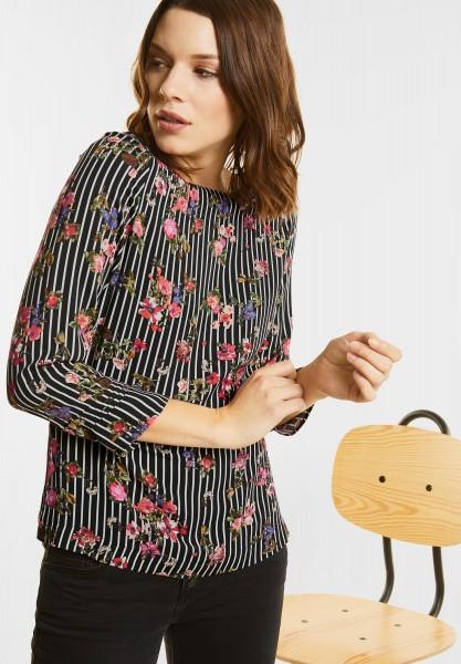 Street One - Strukturmix Blüten Shirt in Black