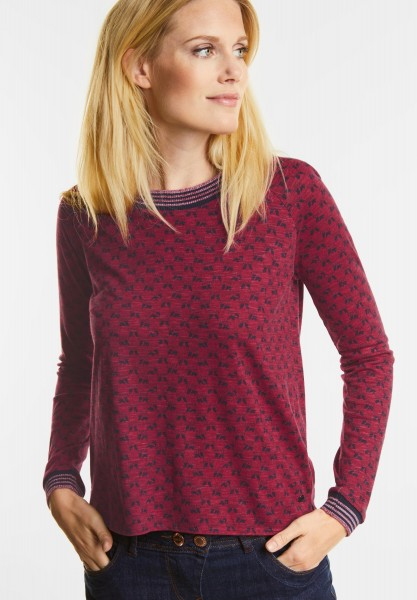 CECIL - Sportives Raglan Printshirt in Cranberry Red Melange