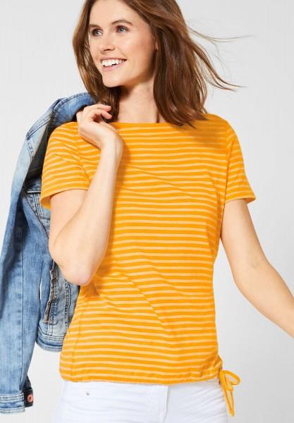 CECIL - T-Shirt Abbi mit Streifen in Mango Yellow