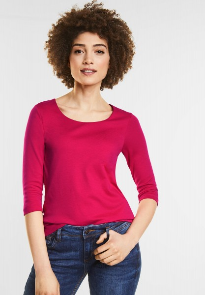 Street One Schmales Basic Shirt Pania in Carribean Pink