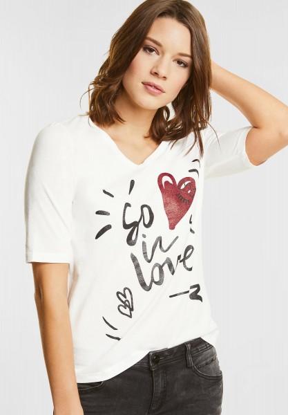Street One - V-Shirt mit Glitzer Wording in Off White
