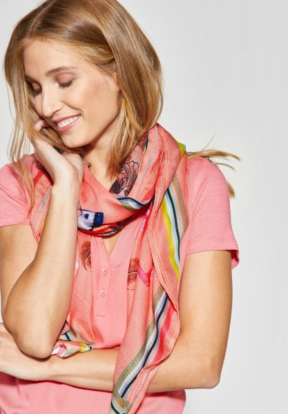 CECIL - Schal mit Tropical-Print in Neon Apricot