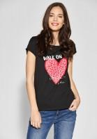 Street One - Shirt mit Wording und Print in Black