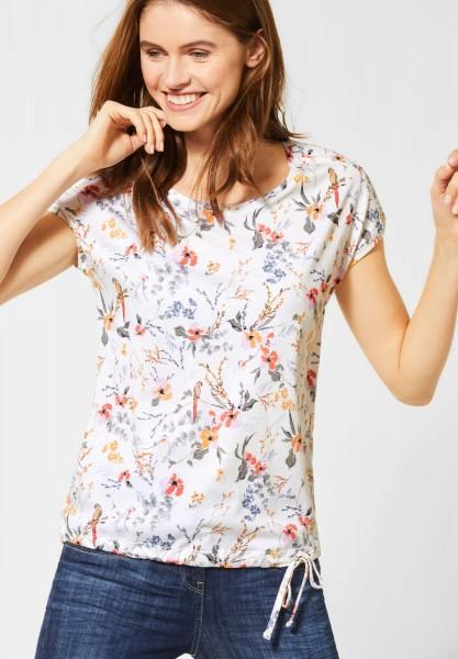 CECIL - Shirt mit gesmokter Schulter in Light Alabaster White