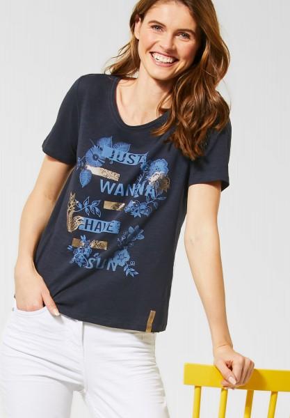 CECIL - T-Shirt mit Schriftzug in Deep Blue
