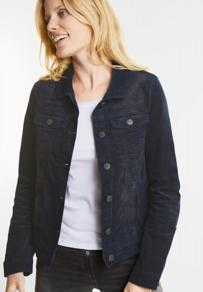 CECIL - Washed Denim Style Samtjacke in Deep Blue