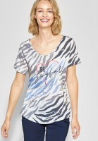 Street One - Print Shirt mit Burn-Out in Off White