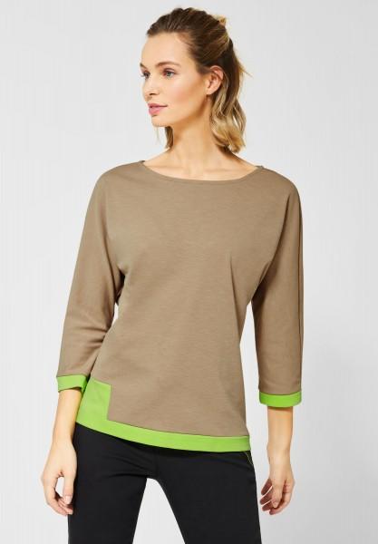 Street One - Shirt mit Colourblock in Easy Camel Melange