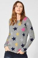 CECIL - Pullover mit Sternenmotiv in Mineral Grey Melange