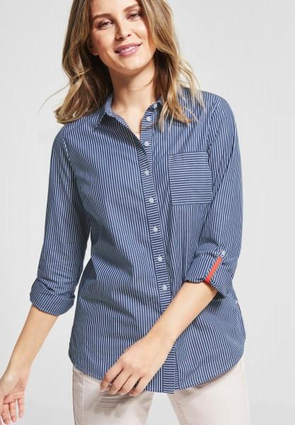 CECIL - Baumwoll Bluse mit Streifen in Deep Blue