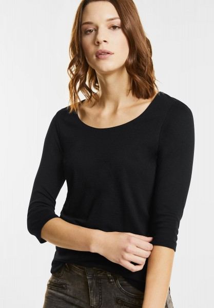 Street One - Schmales Basic Shirt Pania in Black