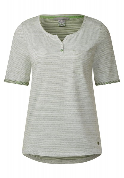 CECIL - Fein gestreiftes Shirt in Matcha Tea Green