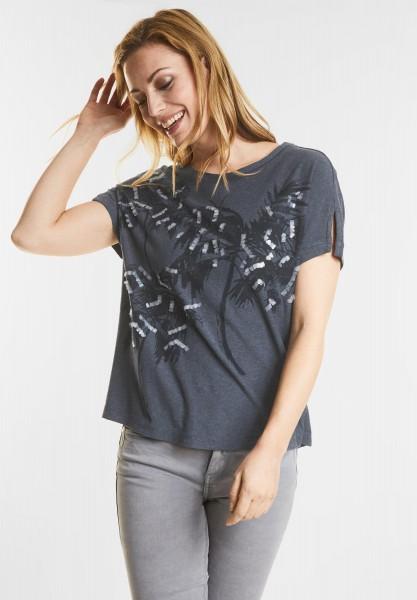 CECIL - Shirt mit Palmenprint in Deep Blue Melange