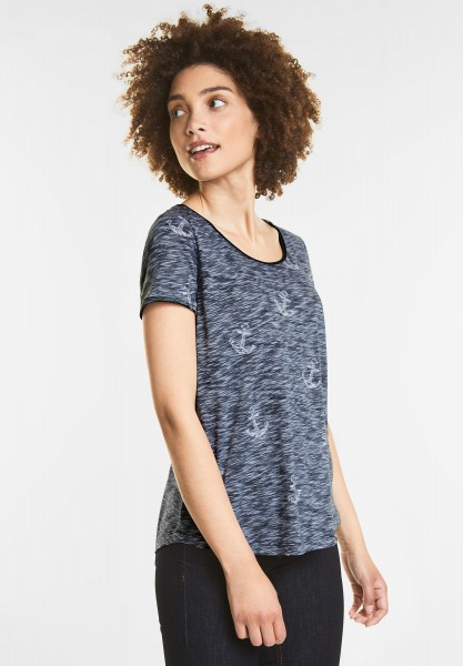 Street One - T-Shirt im Inside-Out Style in Deep Blue