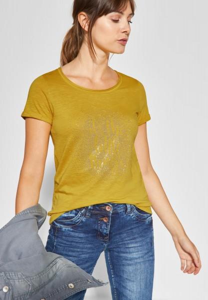 CECIL - Shirt mit Wording und Strass in Ceylon Yellow