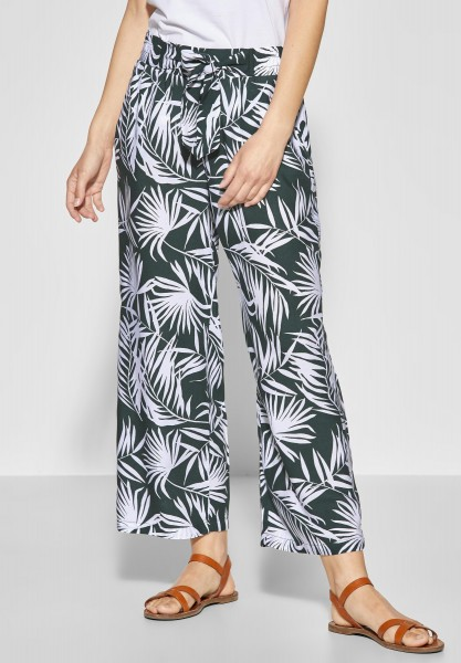Street One - Luftige Hose mit Palmenprint in Chilled Green