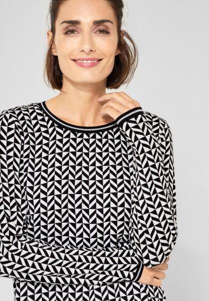 Street One - Muster-Shirt mit Glitzer in Off White