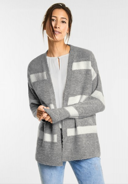 Street One Streifen Boucle Cardigan in Moon Grey Melange