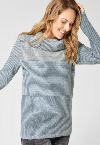 CECIL - Pullover mit breitem Kragen in Off White Melange