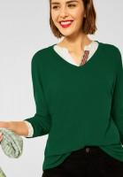 Street One - Basic Shirt mit Raffung in Timeless Green