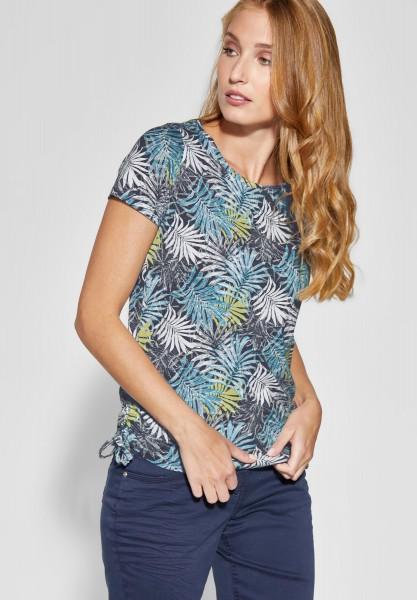 CECIL - Blätterprint Shirt Calu in Deep Blue