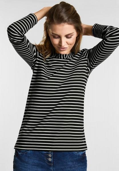CECIL - Softes Streifenshirt in Black