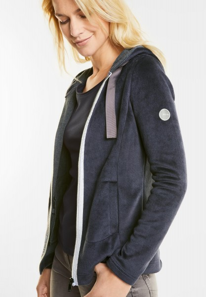 CECIL - Teddy Sweatjacke in Deep Blue