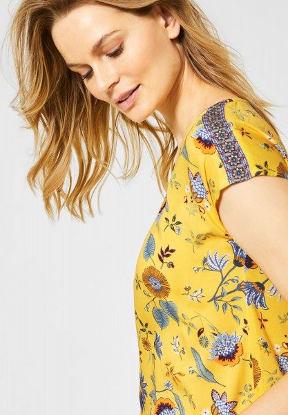 CECIL - Shirtbluse mit Blättermuster in Radiant Yellow