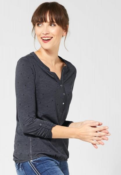 CECIL - Shirt mit Muster in Dark Graphite Grey