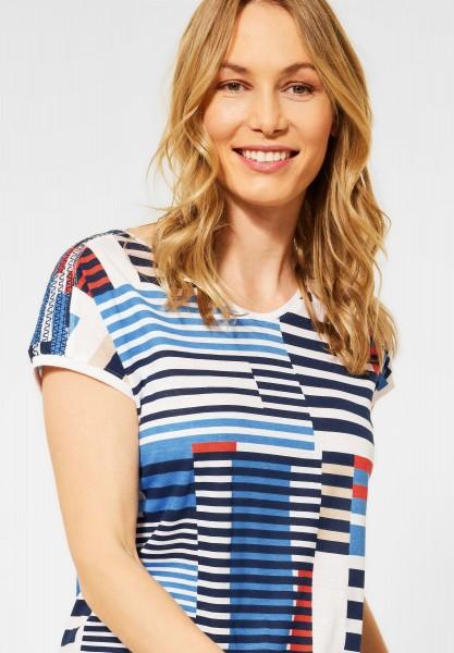 CECIL - T-Shirt mit Smok-Details in Deep Blue