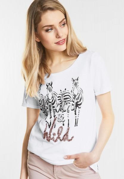 Street One Shirt mit Print und Glitzer in White