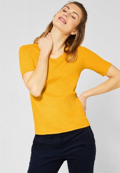 CECIL - Organic Halbarmshirt Lena in Mango Yellow
