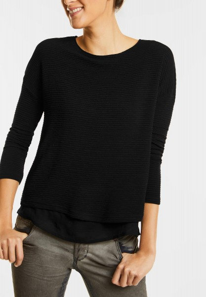 Street One - Lagenlook Struktur Shirt in Black