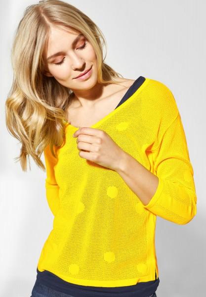 Street One - Strickpullover mit Punkten in Sunshine Yellow