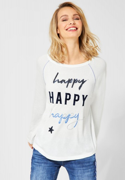 Street One - Shirt Mina mit Schriftzug in Off White