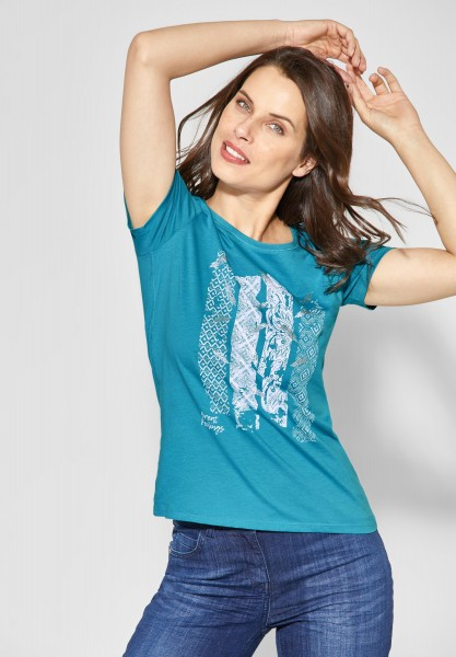 CECIL - Shirt mit Frontprint in Cool Lagoon Blue