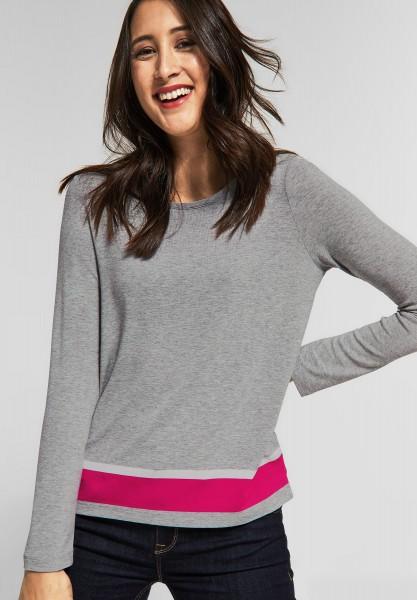Street One - Shirt mit Farbdetails in Moon Grey Melange
