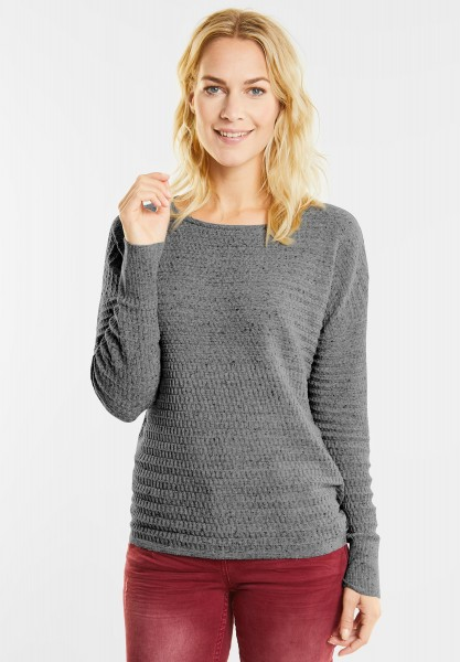 CECIL - Struktur Pullover in Black White Heather Melange
