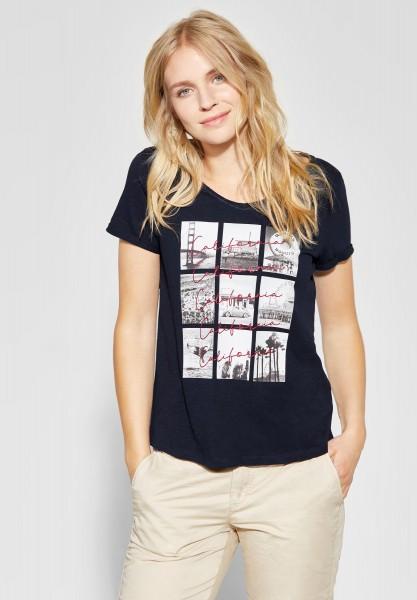 Street One - V-Neck Shirt mit Fotoprint in Deep Blue
