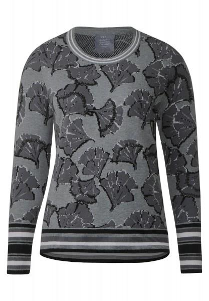 CECIL - Floraler Jacquard Pullover in Silver Melange