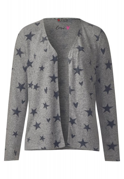 Street One - Offene Sternen-Shirtjacke in Misty Grey Melange
