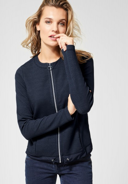 CECIL - Sweatjacke mit Strukturmix in Deep Blue