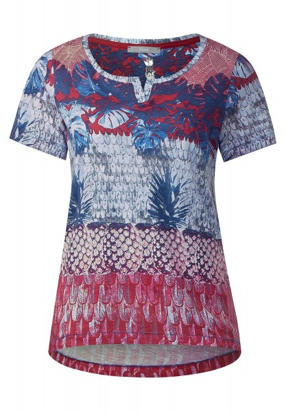 CECIL - T-Shirt mit Tropical-Print in Just Red