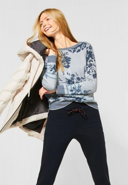 CECIL - Pullover mit Blumen-Muster in Off White Melange