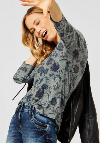 CECIL - Cosy Shirt mit Blumenmuster in Soft Khaki Melange