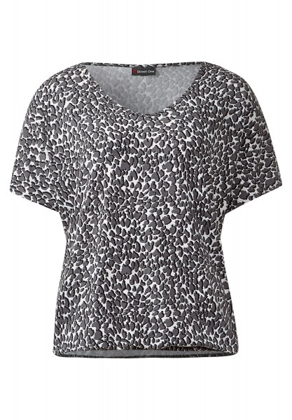 Street One - V-Neck Animalshirt Georgitta Pride Grey