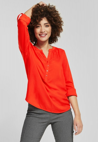 Street One - Basic Bluse mit Knopfleiste in Hot Orange