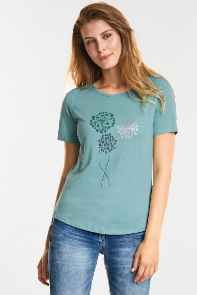 CECIL - Weiches Flower-Print T-Shirt in Gingermint Green